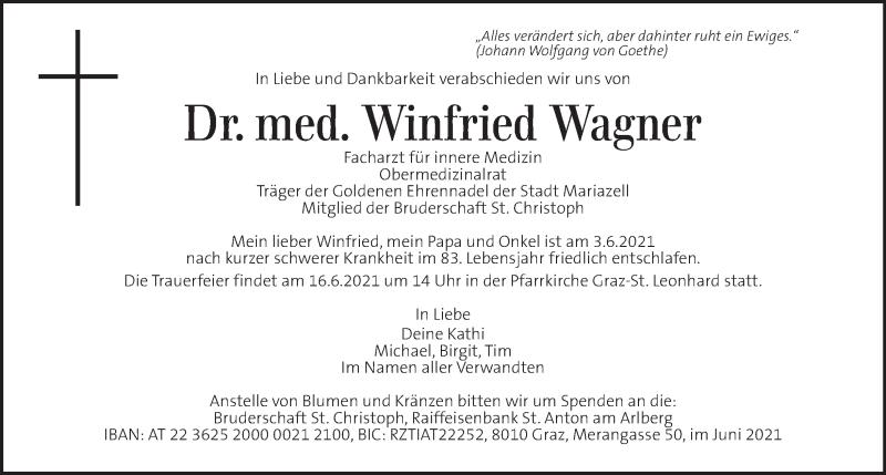 Traueranzeige für Winfried Wagner vom 12.06.2021 aus Kleine Zeitung