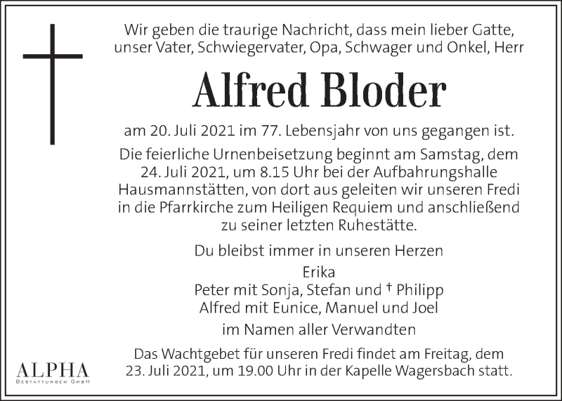 Traueranzeige für Alfred Bloder  vom 22.07.2021 aus Kleine Zeitung