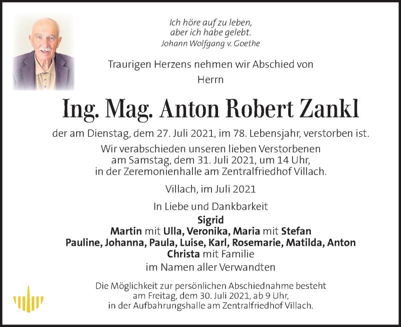Traueranzeige für Anton Robert Zankl vom 30.07.2021 aus Kleine Zeitung