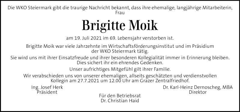 Traueranzeige für Brigitte Moik vom 24.07.2021 aus Kleine Zeitung