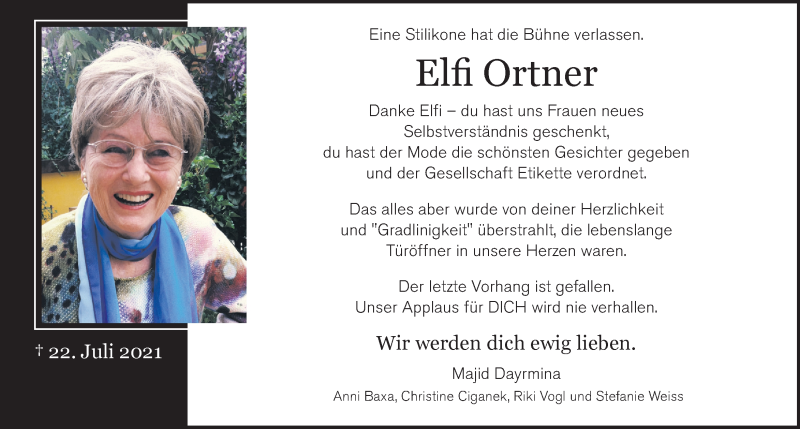 Traueranzeige für Elfi Ortner vom 28.07.2021 aus Kleine Zeitung
