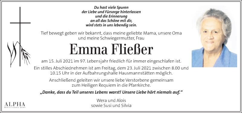 Traueranzeige für Emma Fließer vom 21.07.2021 aus Kleine Zeitung