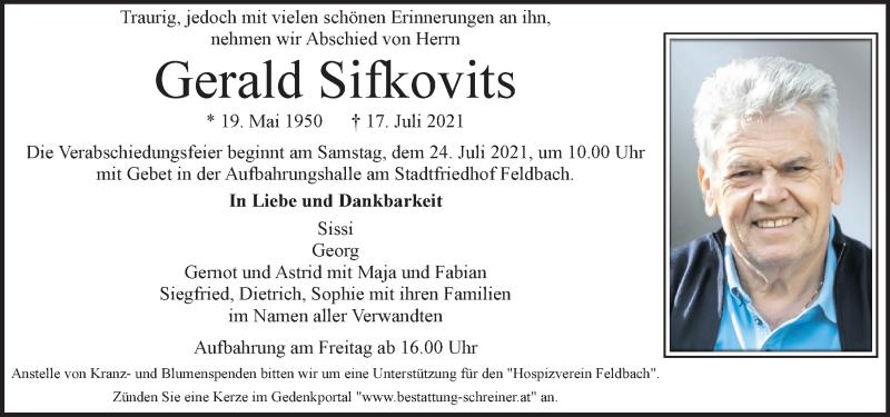 Traueranzeige für Gerald Sifkovits vom 22.07.2021 aus Kleine Zeitung