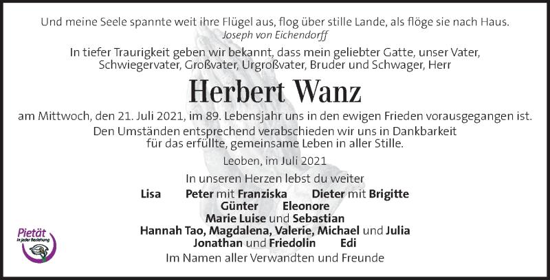 Traueranzeige für Herbert Wanz vom 29.07.2021 aus Kleine Zeitung