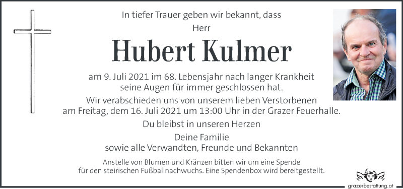 Traueranzeige für Hubert Kulmer vom 13.07.2021 aus Kleine Zeitung