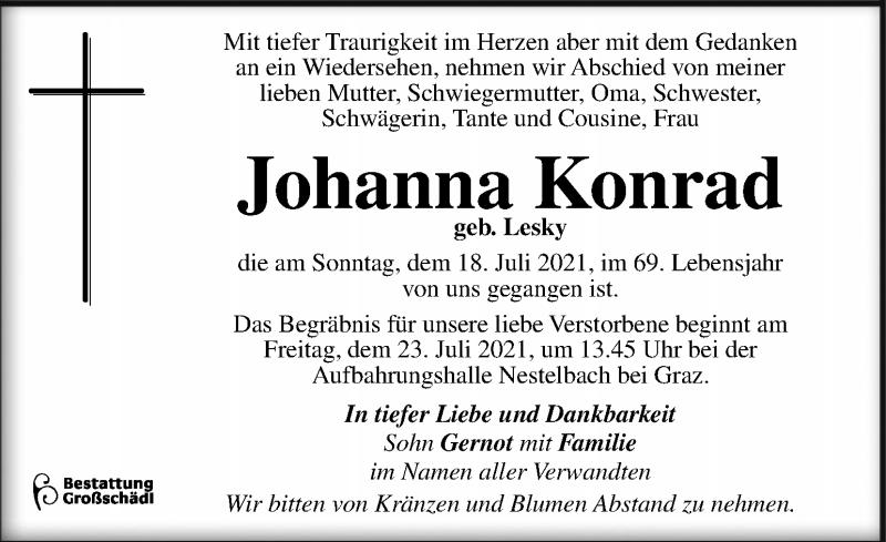 Traueranzeige für Johanna Konrad vom 21.07.2021 aus Kleine Zeitung