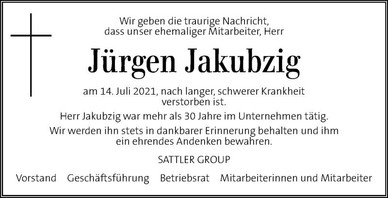 Traueranzeige für Jürgen Jakubzig vom 21.07.2021 aus Kleine Zeitung
