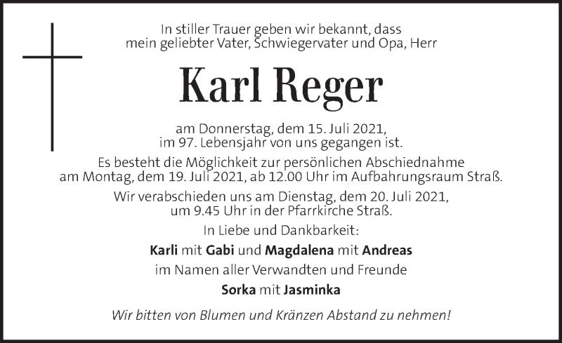 Traueranzeige für Karl Reger vom 18.07.2021 aus Kleine Zeitung