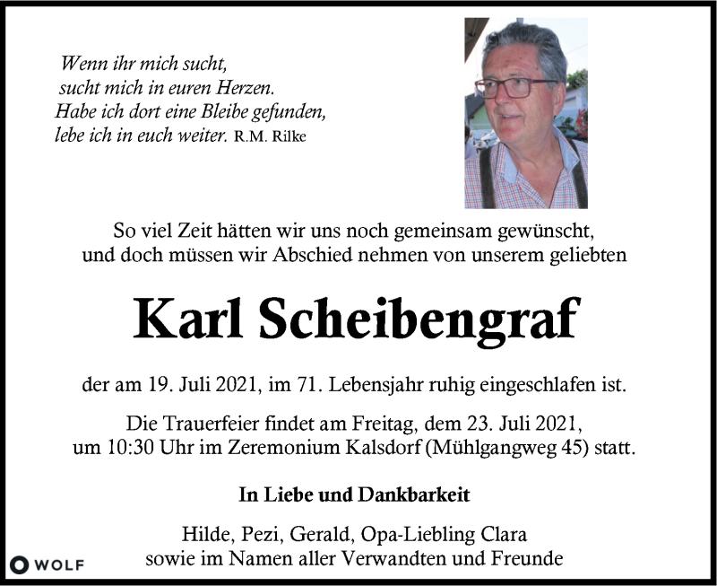 Traueranzeige für Karl Scheibengraf  vom 21.07.2021 aus Kleine Zeitung