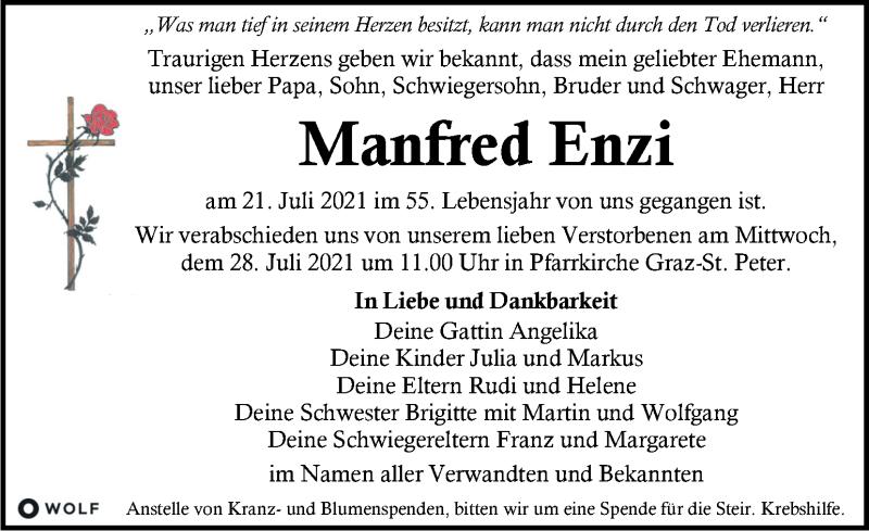 Traueranzeige für Manfred Enzi vom 25.07.2021 aus Kleine Zeitung
