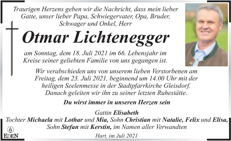 Traueranzeige für Otmar Lichtenegger vom 21.07.2021 aus Kleine Zeitung