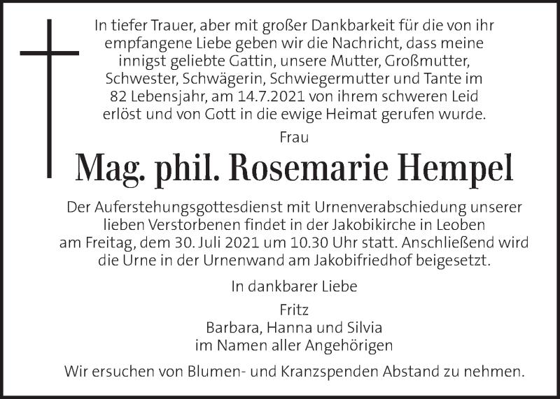 Traueranzeige für Rosemarie Hempel vom 27.07.2021 aus Kleine Zeitung