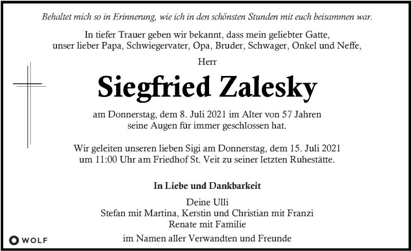 Traueranzeige für Siegfried Zalesky vom 11.07.2021 aus Kleine Zeitung