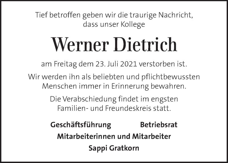 Traueranzeige für Werner Dietrich vom 28.07.2021 aus Kleine Zeitung