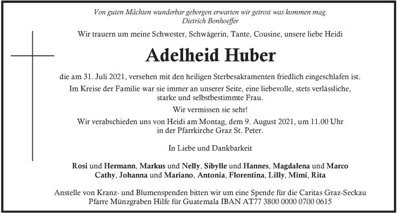 Traueranzeige für Adelheid Huber vom 06.08.2021 aus Kleine Zeitung