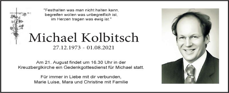 Traueranzeige für Michael Kolbitsch vom 07.08.2021 aus Kleine Zeitung