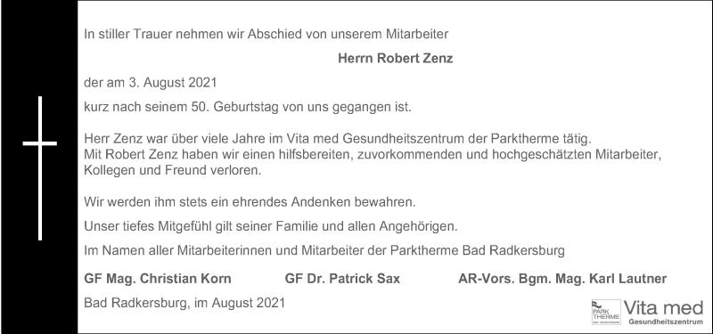 Traueranzeige für Robert Zenz vom 06.08.2021 aus Kleine Zeitung