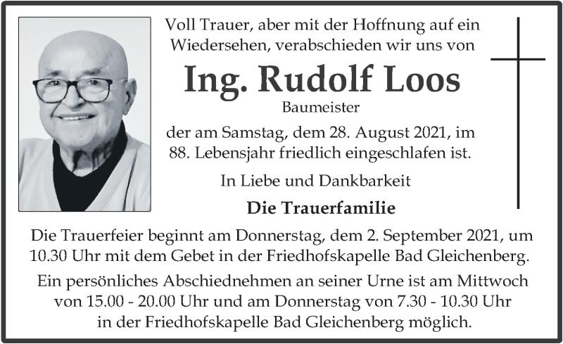 Traueranzeige für Rudolf Loos vom 31.08.2021 aus Kleine Zeitung