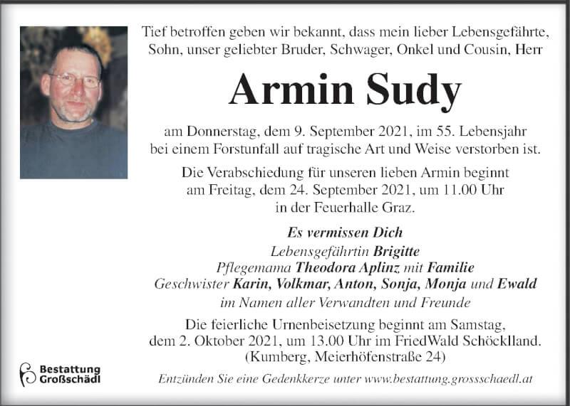 Traueranzeige für Armin Sudy vom 19.09.2021 aus Kleine Zeitung