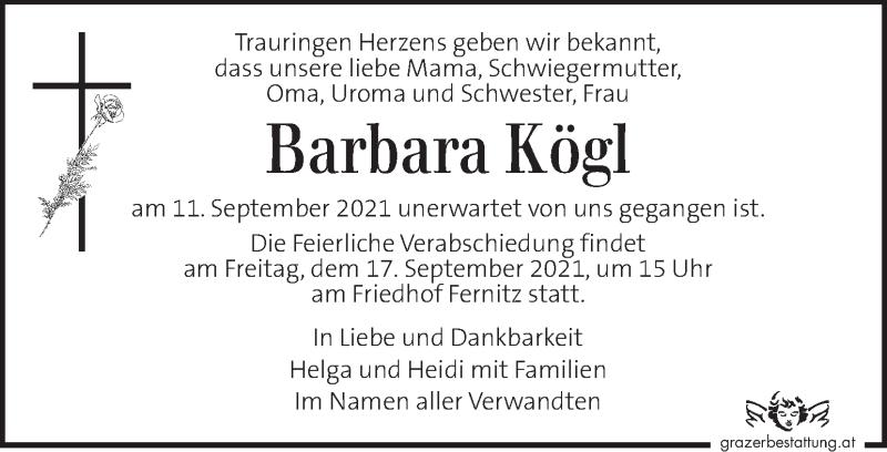 Traueranzeige für Barbara Kögl vom 15.09.2021 aus Kleine Zeitung