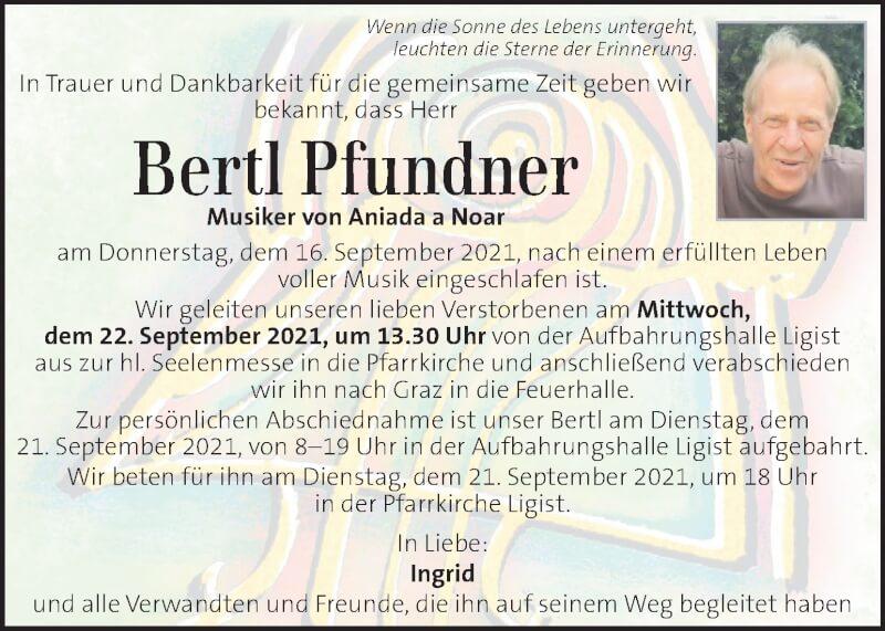 Traueranzeige für Bertl Pfundner vom 19.09.2021 aus Kleine Zeitung