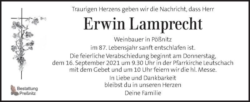 Traueranzeige für Erwin Lamprecht vom 15.09.2021 aus Kleine Zeitung