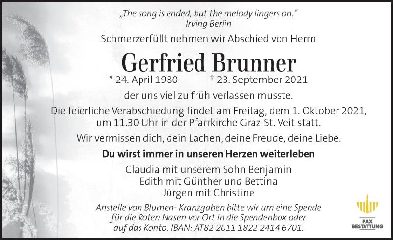 Traueranzeige für Gerfried Brunner vom 28.09.2021 aus Kleine Zeitung