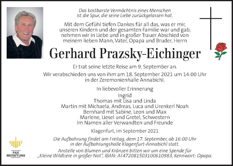 Traueranzeige für Gerhard Prazsky-Eichinger vom 15.09.2021 aus Kleine Zeitung