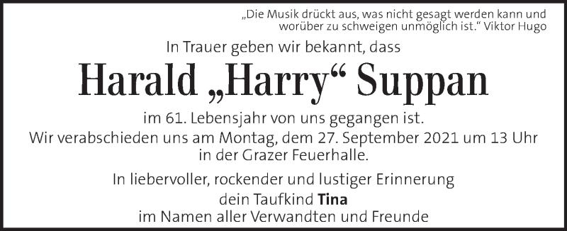 Traueranzeige für Harald Suppan vom 24.09.2021 aus Kleine Zeitung