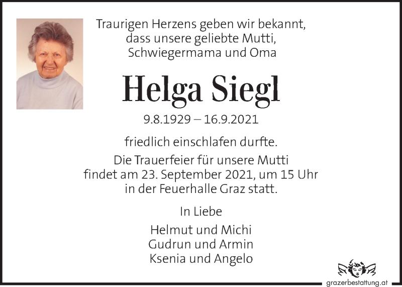 Traueranzeige für Helga Siegl vom 21.09.2021 aus Kleine Zeitung