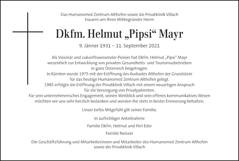 Traueranzeige für Helmut Mayr vom 16.09.2021 aus Kleine Zeitung