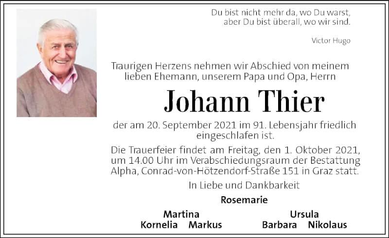 Traueranzeige für Johann Thier vom 25.09.2021 aus Kleine Zeitung