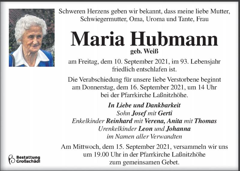 Traueranzeige für Maria Hubmann vom 12.09.2021 aus Kleine Zeitung