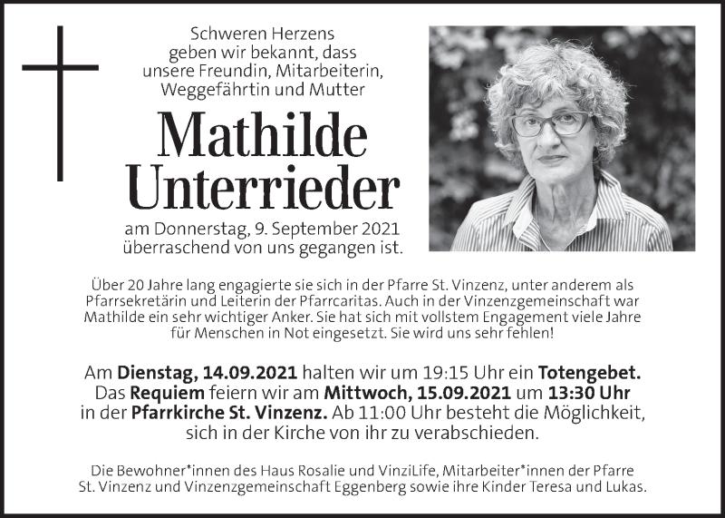 Traueranzeige für Mathilde Unterrieder vom 14.09.2021 aus Kleine Zeitung
