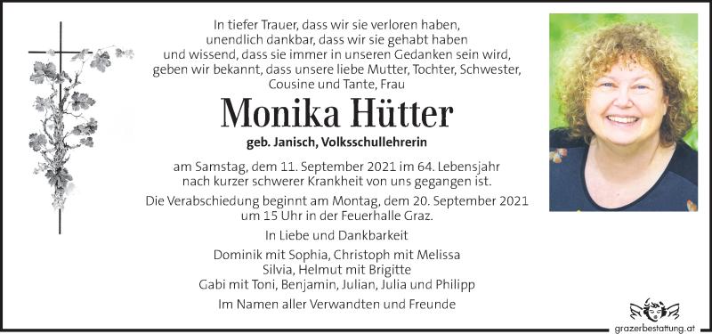 Traueranzeige für Monika Hütter vom 16.09.2021 aus Kleine Zeitung