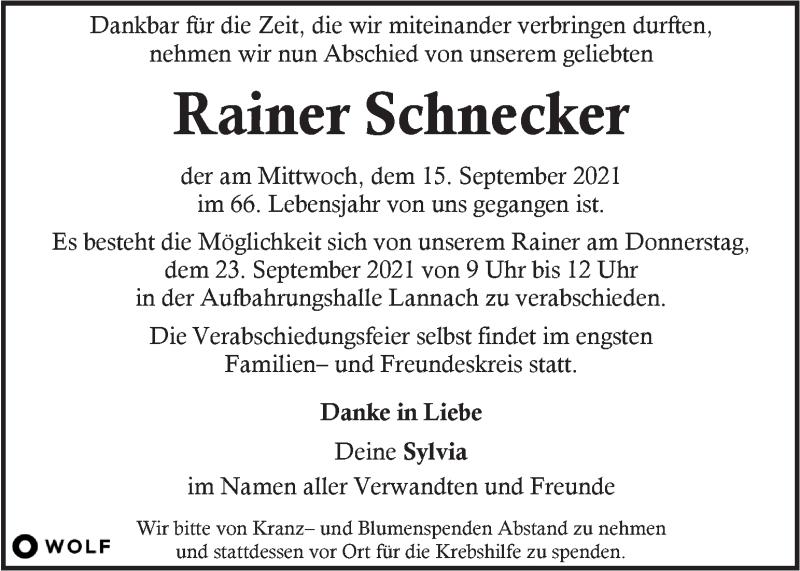Traueranzeige für Rainer Schnecker vom 21.09.2021 aus Kleine Zeitung