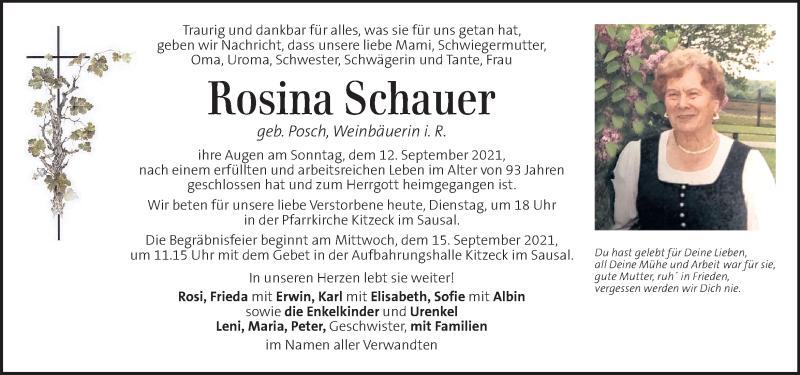 Traueranzeige für Rosina Schauer vom 14.09.2021 aus Kleine Zeitung