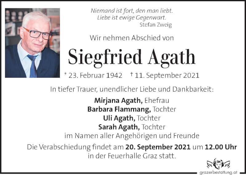 Traueranzeige für Siegfried Agath vom 17.09.2021 aus Kleine Zeitung