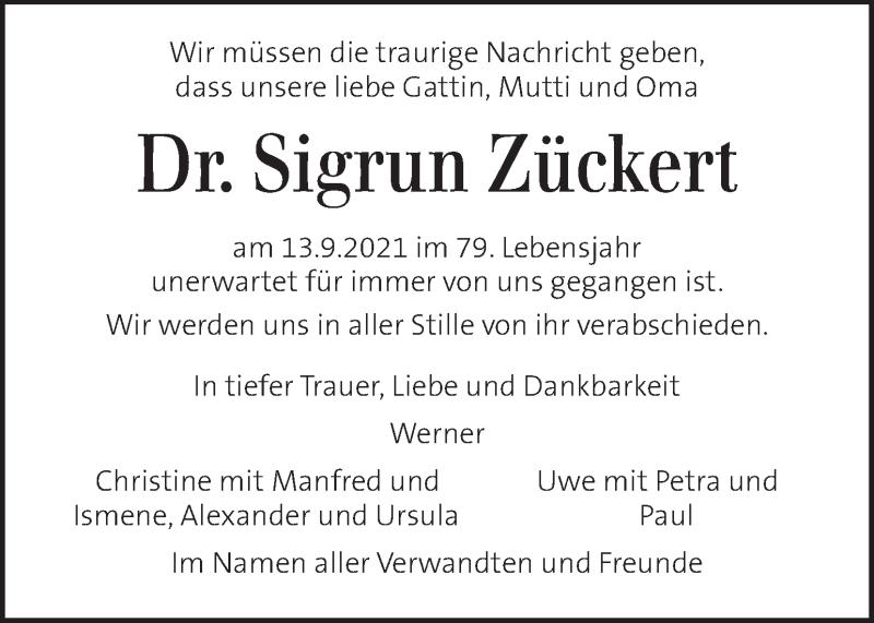 Traueranzeige für Sigrun Zückert vom 21.09.2021 aus Kleine Zeitung